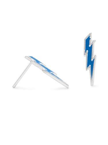 Sterling Silver Blue LIghtening Bold Post Stud Earrings