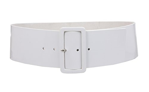 Ladies High Waist Patent Soft Leather Wide Fashion Square Belt, White. Many Colors Available