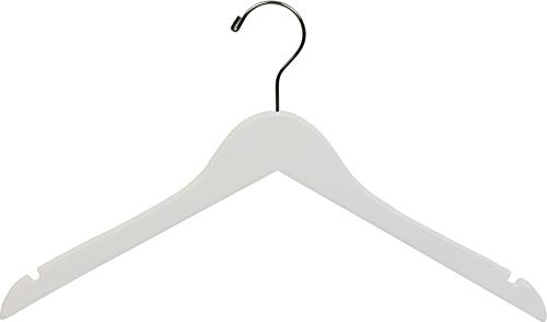 (The Great American Hanger Company The American Company White Wood, Box of 25 Space Saving 17 Inch Flat w/Chrome Swivel Hook & Notches for Shirt Jacket or D Wooden Top Hanger)
