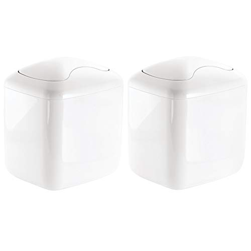 mDesign Modern Plastic Square Mini Wastebasket Trash Can Dispenser with Swing Lid for Bathroom Vanity Countertop or Tabletop - Dispose of Cotton Rounds, Makeup Sponges, Tissues - 2 Pack - White