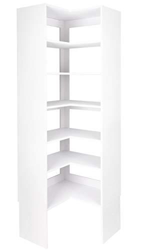 Modular Closets Plywood Corner Shelf Tower Closet Organizer System (White) (Shelf Closet Corner)