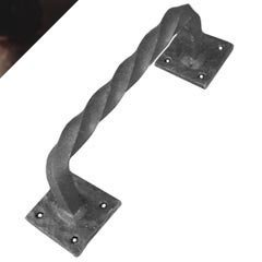 Agave Ironworks Twisted Bar Square Back Pull, Dark Bronze Finish