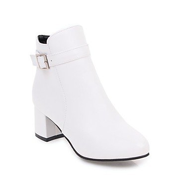 RTRY Women's Shoes Leatherette Fall Winter Fashion Boots Bootie Boots Chunky Heel Round Toe Booties/Ankle Boots Buckle Zipper For Casual Dress US4-4.5 / EU34 / UK2-2.5 / CN33 o6YcboCTL8