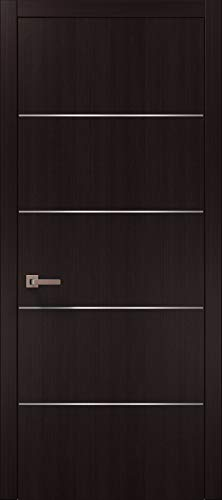 Pre-Hung Brown Modern Door 24 x 80 with Strips | Planum 0020 Wenge | Frame Trims Lever Satin Nickel Hardware | Closet Solid Core Door