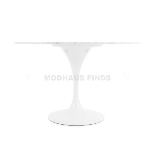 ModHaus Living Mid Century Modern Tulip Style 47 inch Round Carrara Marble Dining Table – Includes R Pen