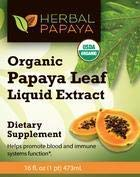 Papaya Leaf Liquid Extract - Natural Blood Platelet Level Boost, Bone Marrow, Immune Gut, Digestive Enzyme - Organic Non-GMO Papaya Leaf Juice - 16oz Bottle - Made in USA by Herbal Goodness