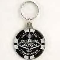 "(8 5/5/18) Las Vegas Key Chain Black Glitter 2 Sided 2"" $100 Poker Chip"