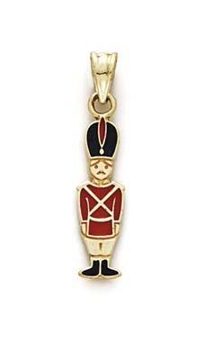 14 carats-Émail-JewelryWeb pendentif en forme de soldat