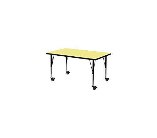 (Wood & Style Office Home Furniture Premium Mobile 24''W x 48''L Rectangular Yellow Thermal Laminate Activity Table - Height Adjustable Short Legs)