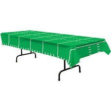 Football Touchdown Time 1 Ply Tissue Table Cover, Size 54 in x 88 in, Green