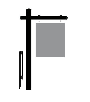 "BuildASign Black Premium Colonial Post Yard Sign Display for Real Estate, 66""x40"" installed post/base - Design Post Yard Sign"