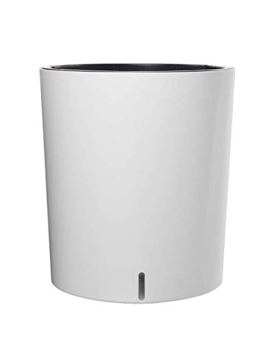 "Large Round 12.5"" Self Watering Planter Pot for Home Garden Patio (White)"