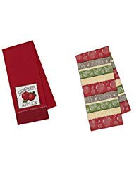 Apple Kitchen Tea Towel - Design Imports DII Coordinating Embroidered and Printed Cotton Dishtowel Sets of 2 Tea Towels (Apple)