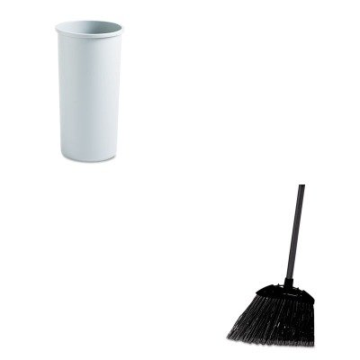 KITRCP354600GYRCP637400BLA - Value Kit - Rubbermaid-Gray 22 Gallon Round Container 22 Gallon (RCP354600GY) and Rubbermaid-Black Brute Angled Lobby Broom (RCP637400BLA) by Rubbermaid