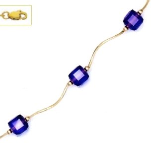 14k Yellow Gold 6 mm Cube Purple Crystal Necklace - Choice 18-inch (14k 6 Mm Cube)
