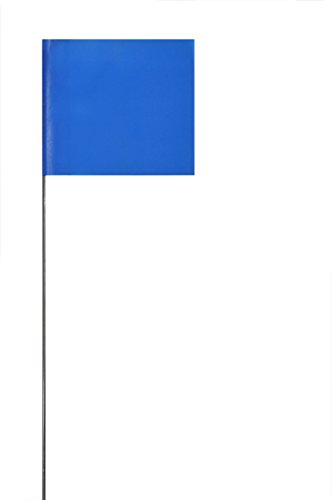 Swanson FBL21100 2-Inch by 3-Inch Marking Flags with 21-Inch Wire Staffs, Blue 100 - Marker Flags Lawn