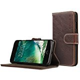 Snugg iPhone 7 Plus and 8 Plus Case Apple iPhone Flip [Card Slots] Leather Wallet Cover Design in Dark Roast Brown, Legacy - Brown Is Why Wood