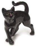 BLACK CAT Kitten walks askew MINIATURE Porcelain NORTHERN ROSE R314E