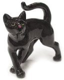 BLACK CAT Kitten walks askew MINIATURE Porcelain NORTHERN ROSE R314E