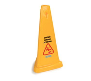 Carlisle Safety Cone Floor Sign, ''Caution'', 13-1/2''W x 27''H, triangular, 360° visibility, multi-lingual (English/Spanish/French), polypropylene, yellow, 3694004 by Carlisle