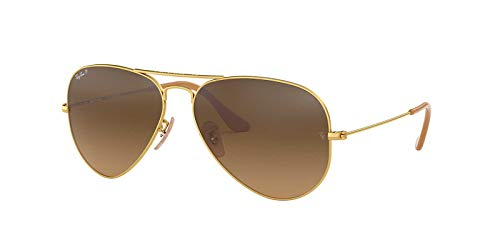 Ray-Ban Original Aviator Sunglasses (RB3025) Gold Matte/Brown Metal - Polarized - - Ban Frame Brown Ray