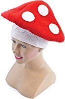 Toadstool Costume Mario (Red & White Adults Toad Stool Mushroom Hat)