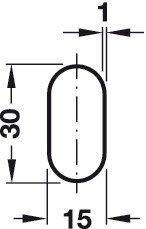 2/PZ Acciaio Cromato tubo armadio 30/X 15/mm Tubo armadio cuscinetto Medio Con Bretelle per montaggio a soffitto Mobili Armadio tubo ovale Asta Appendiabiti 1000/mm incl von GedoTec Mobili