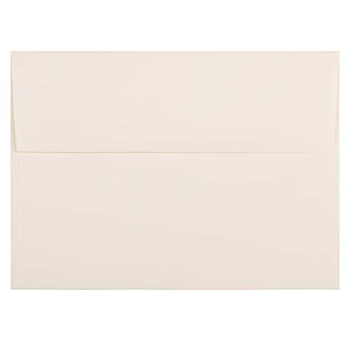 Natural Linen Finish (JAM PAPER A7 Strathmore Invitation Envelopes - 5 1/4 x 7 1/4 - Natural White Linen - 50/Pack)