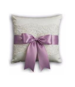 Bridal Chantilly Lace White Wedding Ceremony Ring Pillow with Lavender Ribbon by Beverly Clark