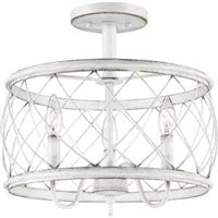 Quoizel RDY1714AWH Dury Cage Semi-Flush Ceiling Lighting, 3-Light, 180 Watts, Antique White (15