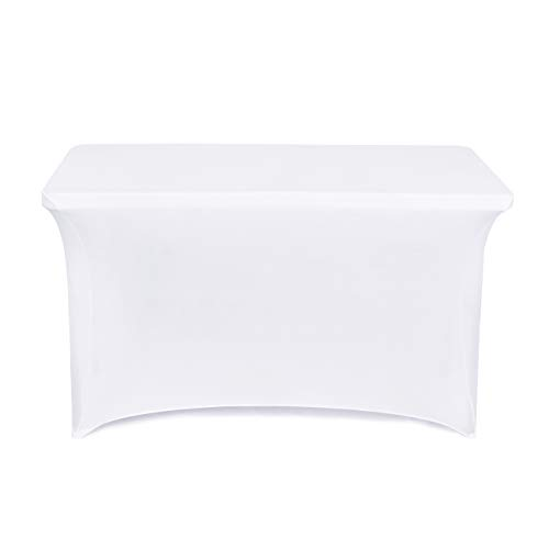 (Obstal 4ft Stretch Spandex Table Cover for Standard Folding Tables - Universal Rectangular Fitted Tablecloth Protector for Wedding, Banquet and Party (White, 48 Length x 24 Width x 30 Height)