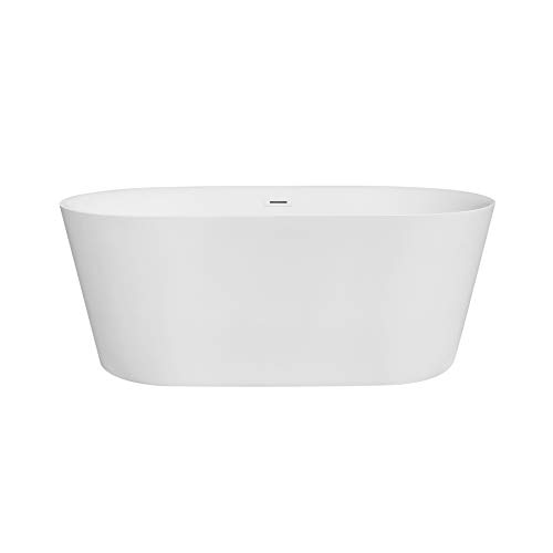 "MAYKKE Dewey 59"" Oval Acrylic Bathtub 