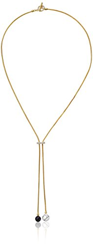Noir Jewelry Semi Precious Gold Sphere Y-Shaped Necklace -