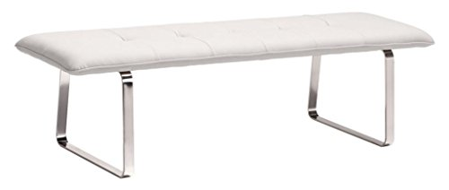 (Modern Contemporary Dining Bench, White Leatherette Chrome Steel)