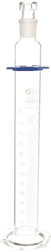 United Scientific CY2981-250 Borosilicate Glass Graduated Cylinder with Hexagonal Base and Bumper Guard, Glass Stopper, Single Scale, Class A, Batch Certified, 250ml Capacity
