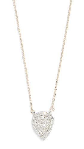Adina Reyter Women's 14k Gold Solid Pavé Teardrop Necklace, Gold/Clear, One Size