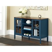 10 Spring Street Hinsdale 2-Door with Center Shelves Console Cabinet, Deep Teal - Dining Room Painted Cabinet