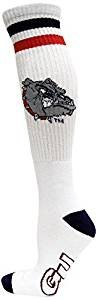 - Donegal Bay NCAA Gonzaga Bulldogs White Tube Sock Blue Heel Toe, Red, One Size