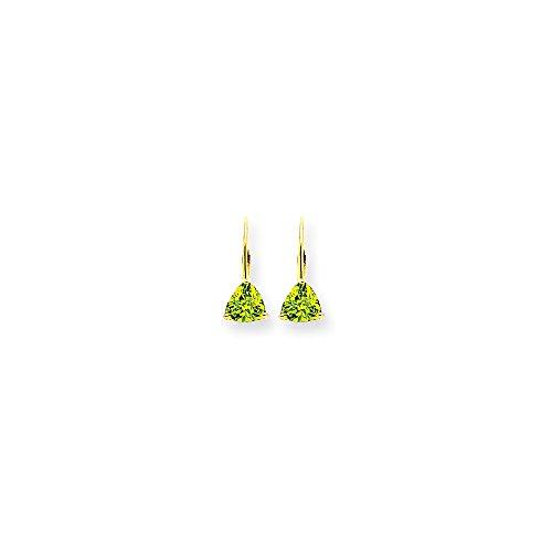 Perfect Jewelry Gift 14k 6mm Trillion Peridot Leverback Earrings