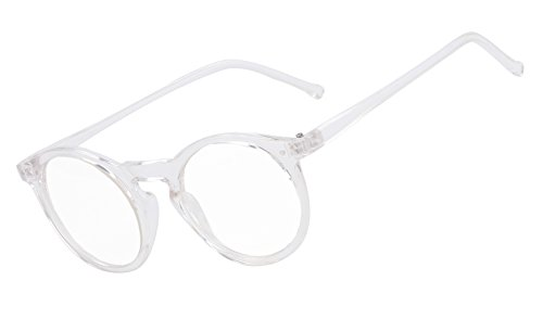 Beison Horn Rimmed Round Eyeglasses Frame Plain Glasses Clear Lens (Transparent, - Glasses Frame Clear Round