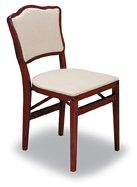 Folding Wood Chairs Cherry Finish - Upholstered Back (Set of ()