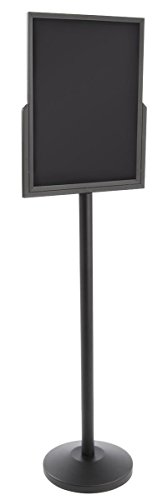 Displays2go 18 x 24 Inches Poster Sign Floor Stand, Anti-Glare Insert, 2 Sides, 69H-Inch, Black Stainless Steel (STC2418BV3)