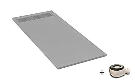 Plato ducha resina antideslizante textura pizarra Lane Bricodomo 80x100 Negro