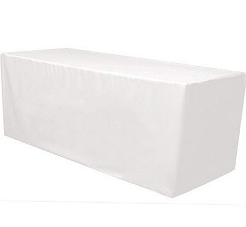 (Mikash 4 ft. x 2.5 ft. Fitted Polyester Tablecloth Table Cover Wedding Banquet White   Model TBLCLTH - 57)