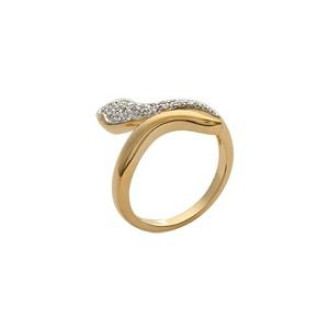 So Chic Jewels - 18k Gold Plated White Cubic Zirconia Snake Ring - Size 9