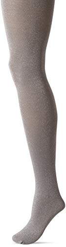 HUE Women's Fashion Tights with Non Control Top, Assorted, Metallic - Black/Steel -
