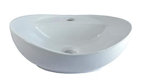 Lavabo Ceramica Lavandino Lavello Ovale d'appoggio Lavandino da Bagno senza Troppopieno 40, 5x33x14, 5cm Markenlos