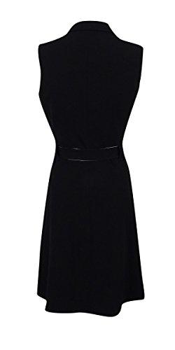 Femmes Calvin Klein De Robe Ceinturée Wrap Colorblocked (2, Noir / Crème)