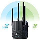 Price comparison product image Coredy WiFi Range Extender,  AC1200 Dual Band Mini WiFi Repeater,  Wi-Fi Signal Booster,  Wireless Access Point with 4 Ethernet Antennas,  Extending WiFi to Whole Home and Garden (Prescitech X12)