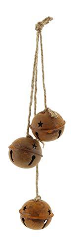 Impressive Enterprises Set of 3 Decorative Bells with Jute Rope Hanger Rustic Style 12